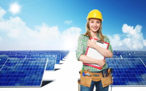woman-contractor-standing-in-front-of-solar-panels-on-white-background